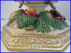 Fitz Floyd Classics Pedestal Cake Plate Christmas Bow Fruit Gold