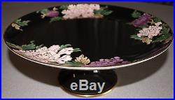 Fitz & Floyd Cloisonne Peony Japan Pedestal Compote Cake Plate 10 1/4