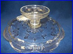 Floral Cake Plate Stand On Pedestal With Dome Cover