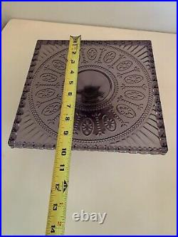 Floral Purple Glass cake serving stand plate platter pedestal raised tray art