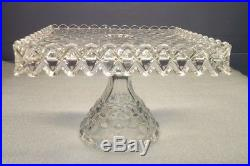 Fostoria American Square Cake Plate Salver Stand With Pedestal, Rum Well 1 Piece
