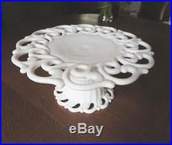 Fostoria Milk Glass Monroe Open Lace Cake Plate White Glass Pedestal Cake Plate