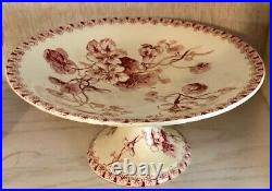 French Gien Capucines Antique Cake Stand Pedestal Plate Red Transferware C1900