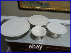 GODINGER CHINA Pedestal Cake/Dessert Plates Set of 4 Tiered/Stacking ITALY