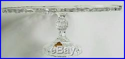 Genuine Lead Crystal Clear Glass Cake Plate Stand Pedestal West Germany EUC