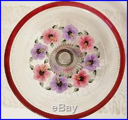 Glass Cake Stand Dome Pedestal Plate Multicolored Flowers Hand Painted Signed