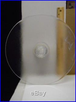 Glass Pedestal Cake Plate Kosta Boda White Swirl