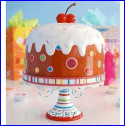 Glitterville Covered Birthday Pedestal Cake Plate Stand With Giant Cherry, Large