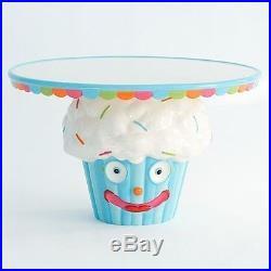 Glitterville Cupcake Town Pedestal Cake Stand Plate, Ceramic, 7.25 Inch X 11.5