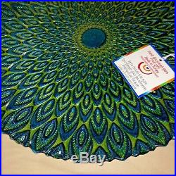 Gorgeous Peacock Pattern Glass Wedding Cake Serving Stand Plate Pedestal LQQK 13