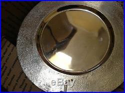 HALLOWEEN SILVER 3D SKULL PEDESTAL CAKE PLATE PLATTER TRAY decor