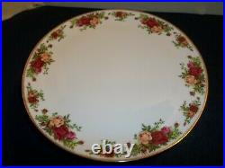 HTF Royal Albert Old Country Roses Pedestal Cake Plate with Knife
