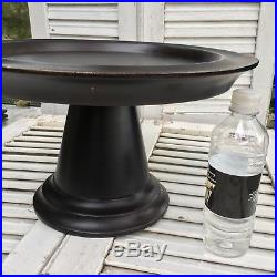HUGE CAKE PEDESTAL PLATE STAND 15 Diam Dark Black Wood Wedding Cupcake Display
