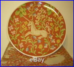 HUNT FOR THE UNICORN FLEMISH TAPESTRY PEDESTAL CAKE PLATE by Seymour Mann 1976