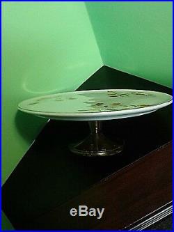 Hall's Superior Vintage Jewel Tea Autumn Leaf Cake Plate On Pedestal