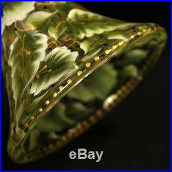Hand Painted Frosted Glass Pedestal Cake Plate Floral Beaded Red Yellow Green