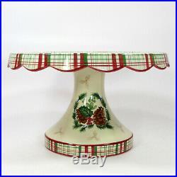 Harry and David PINECONE 11.75 Pedestal Cake Plate & Server Set Christmas MIB
