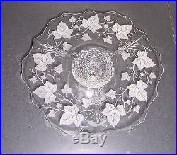 Heisey Plantation Ivy Etched Glass Pedestal Cake Plate