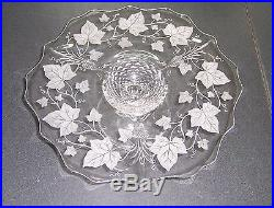 Heisey Plantation Ivy Etched Glass Pedestal Cake Plate