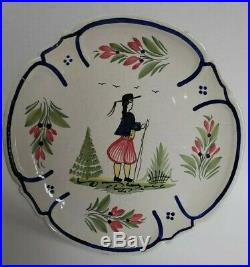 Henriot Quimper France Faience Male Pedestal Cake Plate Platter Decorated CR 222