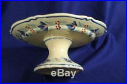Henriot Quimper France Soleil Brenton Male Pedestal Cake Plate Decorated Under