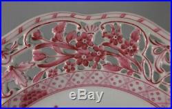 Herend Waldstein Rose Pedestal Cake Plate / Compote Pierced Edge 9 1/8 Rare