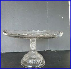 Hobbs Brockunier Tree Trunk Cake Stand Antique EAPG Pedestal Plate 10