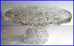 Hofbauer Byrdes Glass Cake Stand Plate on Pedestal Birds Sunburst Clear Germany