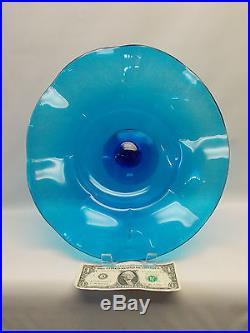 Huge Blenko Art Glass Turquoise Blue Pedestal Bowl Centerpiece Dish Cake Plate