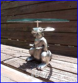 Huge Pottery Barn Heavy Silver Metal Bunny Rabbit Cake Stand Pedestal Plate New