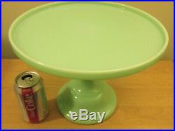 Huge RARE 12 X 9 Jadite Jadeite Glass Pedestal Cake Plate Stand EXCELLENT