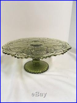 Imperial Glass Green Cake Plate on A Pedestal Base 13 ALIG