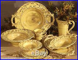 Intrada Baroque Ceramic Honey Yellow 13in D Cake Pedestal Plate Made in Italy