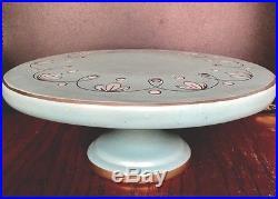 Italy Italian cake plate vintage mid century nice aqua numbered pedestal stand