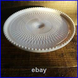 JEANETTE Shell Pink Milk Glass Pedestal Cake Stand Serving Platter Tray