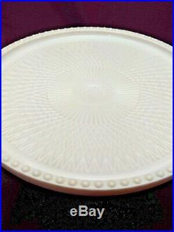 Jeanette Pink Hobnail Harp Cake Stand 1950s Pedestal Plate Depression Milk Glass