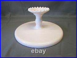 Jeanette Shell Pink Milk Glass CAKE PLATE PEDESTAL STAND 10 Round Vintage