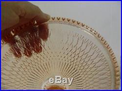Jeannette Pink Glass HARP Pattern Pedestal Cake Plate