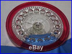 KINGS CROWN-RUBY PEDESTAL CAKE PLATE by TIFFIN GLASS