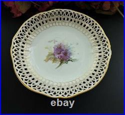 KPM Berlin/ Meissen type Pedestal cake plate with hand painted flowers