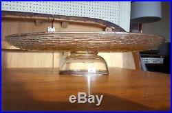 LARGE Silver Mid Century George Briard Cake Plate Overlay Glass Pedestal modern