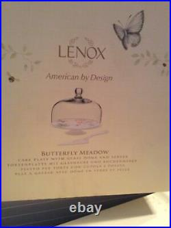 LENOX Butterfly Meadow Medium Pedestal Cake Plate With Glass Dome And Server NiB