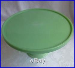LE Smith Glass 10 Pedestal Cake Plate Jadite marked Martha By Mail Stewart