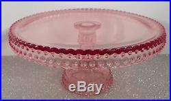LE Smith Glass Classic Pink HOBNAIL Collection 10-7/8 Pedestal Cake Plate Stand