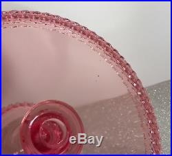 LE Smith Glass Classic Pink HOBNAIL Collection 8-1/2 Pedestal Cake Plate Stand