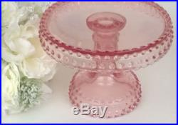 LE Smith Pink Hobnail Glass 6 1/2 Diam Small Pedestal Cake Plate Stand Dish