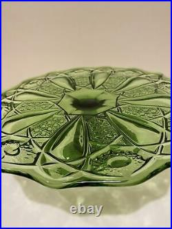 LE Smith QUINTEC Green EAPG Pedestal Cake Stand Plate Vintage 1960s