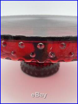 LE Smith Ruby Red Cake Stand Hobnail Pedestal Plate Vintage 10 3/4 D x 4.5 T