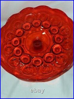 LG Smith Cake Stand Amberina Moon & Star Pedestal Dish Plate Serving Orange Red
