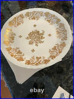 LIMOGES Hand Painted Gold Rose Porcelaine De France 11 Pedestal Cake Plate Rare
